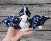 Made to Order White Silver Sparkle GLOW in the DARK Galaxy Constellation Bat Plush Scented or No Scent