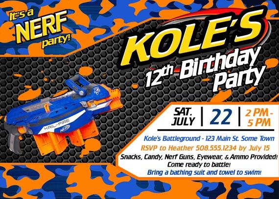 nerf birthday party invitation printable