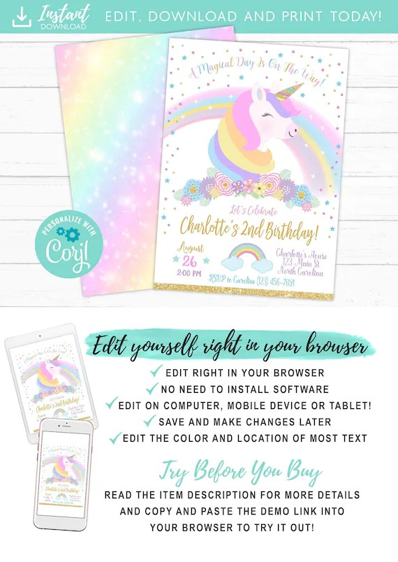 unicorn birthday invitation magical