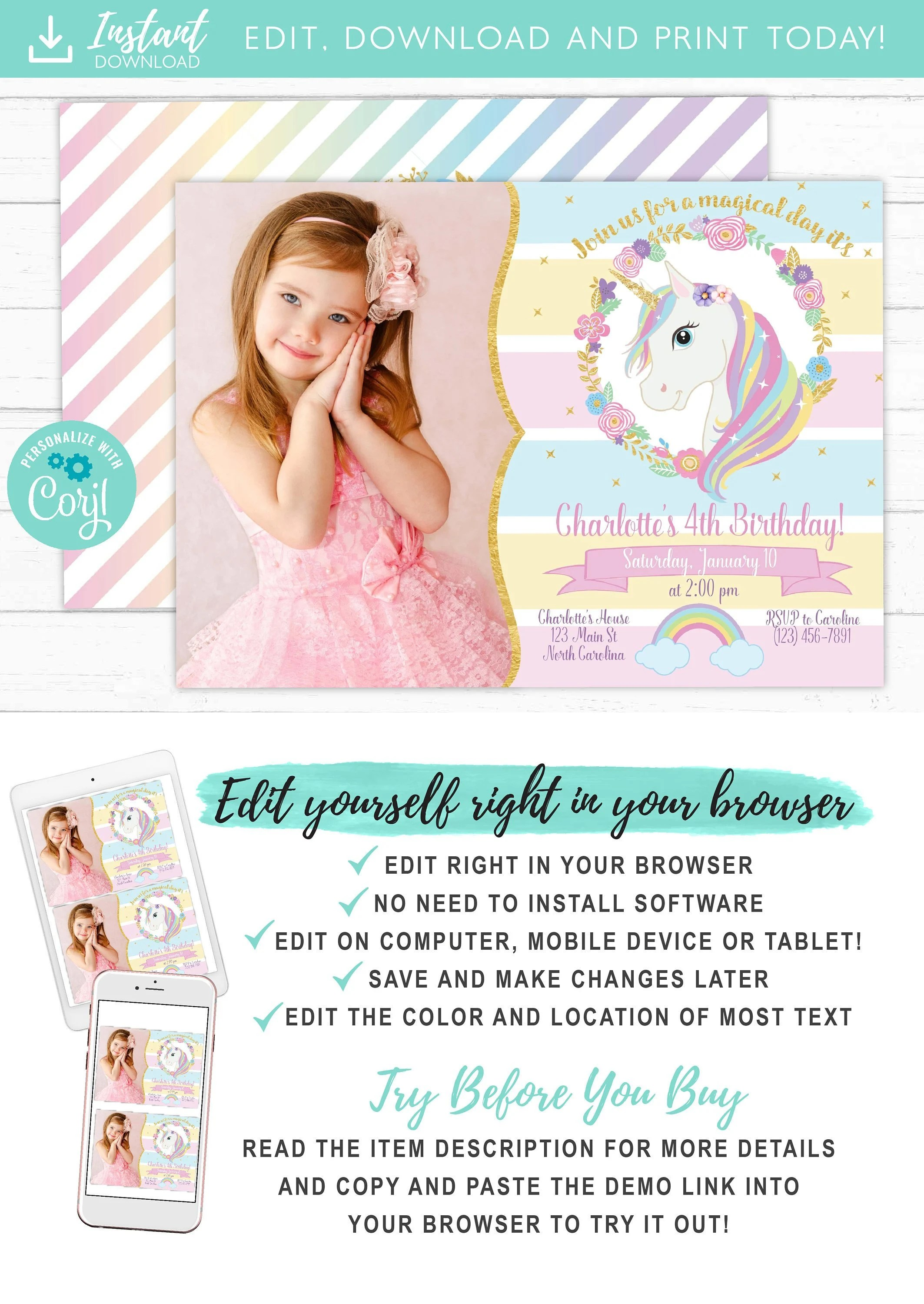 unicorn invitation unicorn party invite magical rainbow unicorn birthday invitation printable with photo free thank you card