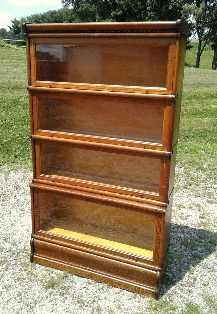 Antique Barrister Bookcase W Step Back Section 4 Stack Macey Tiger Oak 1900 Era