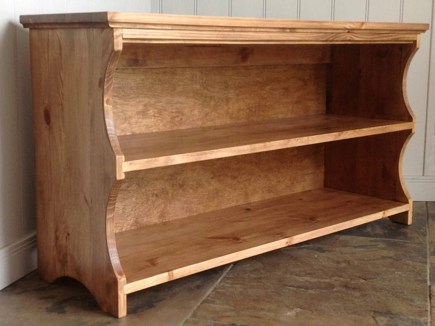 hall shoe bench and shoe rack with storage shelves in antique pine