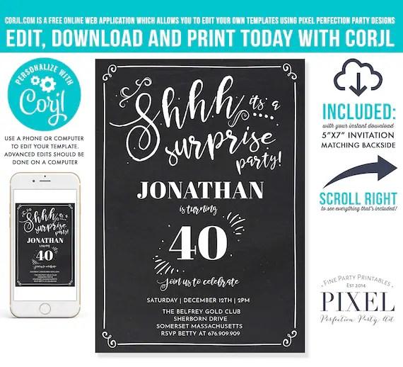 40th surprise birthday invitation