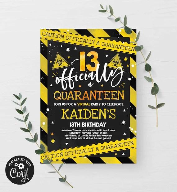 editable quarantine birthday invitation