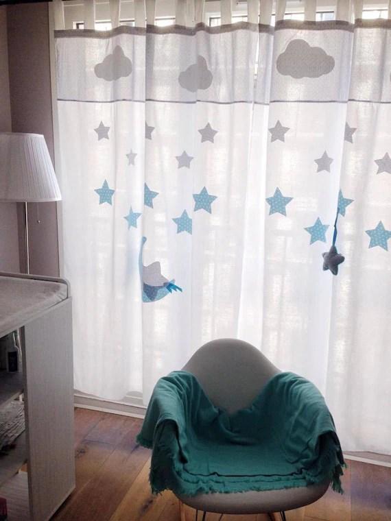 rideau chambre bebe enfant 100 coton fait main personnalisable etoiles lune decoration chambre babobi
