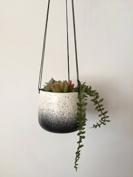 Small Ceramic planter white and black   hanging flower pot   herb     Small Ceramic planter white and black   hanging flower pot   herb planter