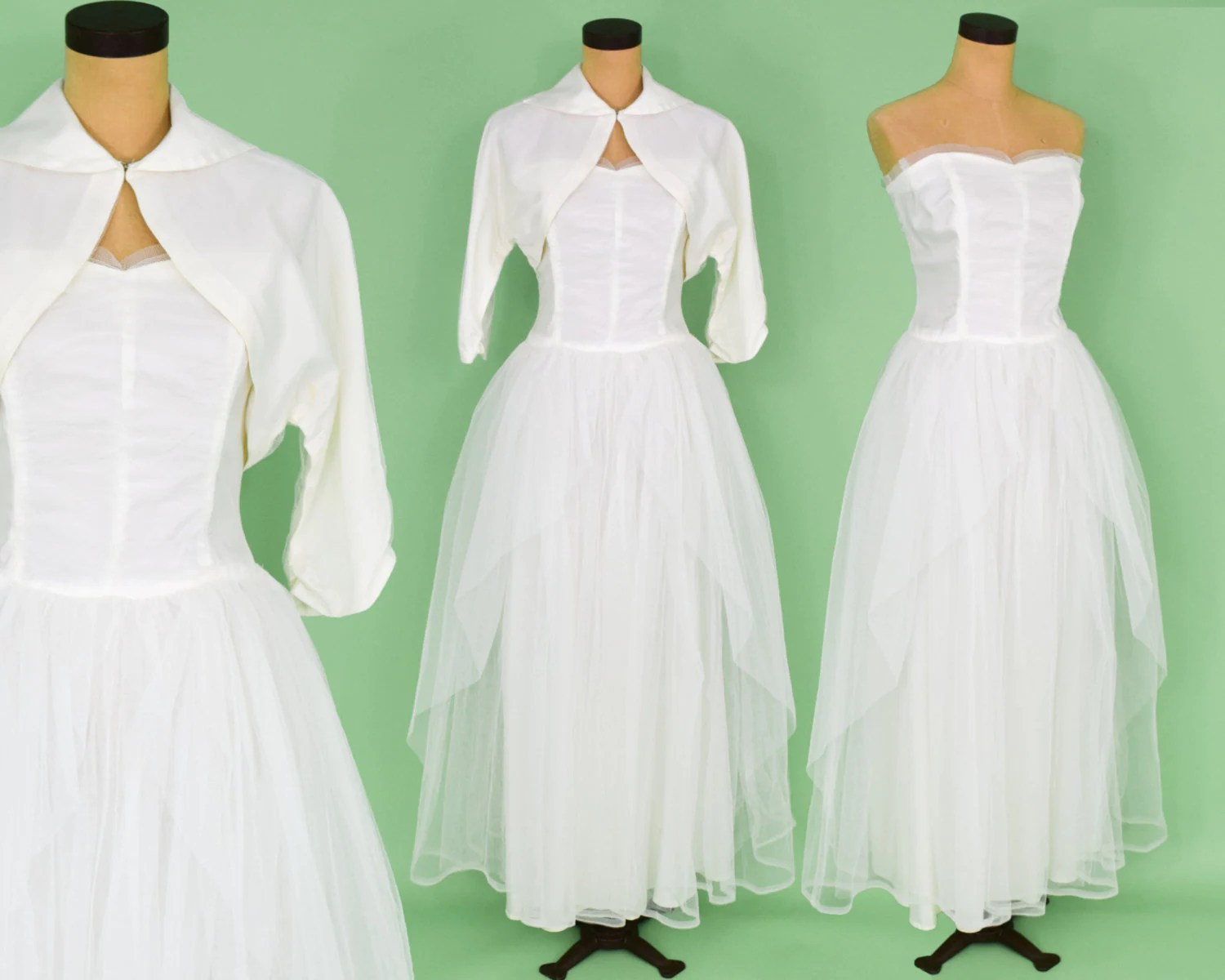 50s White Tulle Wedding Gown White Strapless Evening Dress