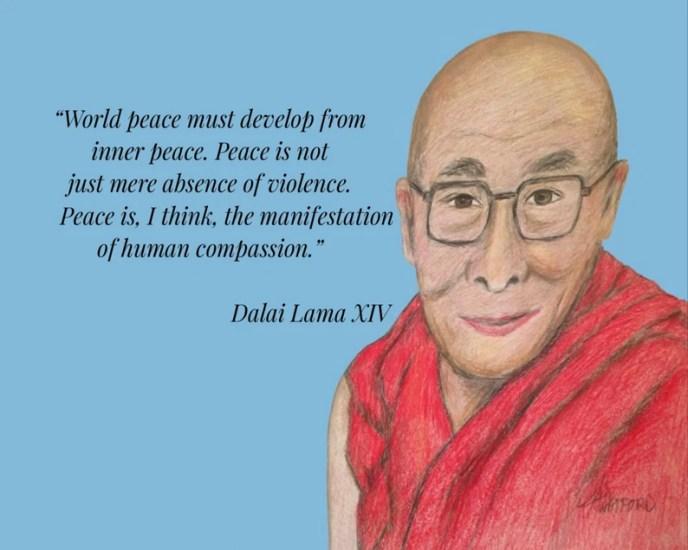 Dalai Lama Inspirational Quote World Peace Quote Portrait image 0