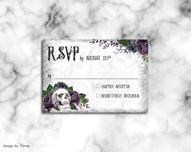 Steampunk wedding invitation Till Death Do Us Part, purple and gray printable wedding invitation suite, G12  2