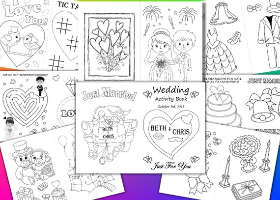 Kids Wedding Coloring Pages Kids Wedding Activity Book Etsy