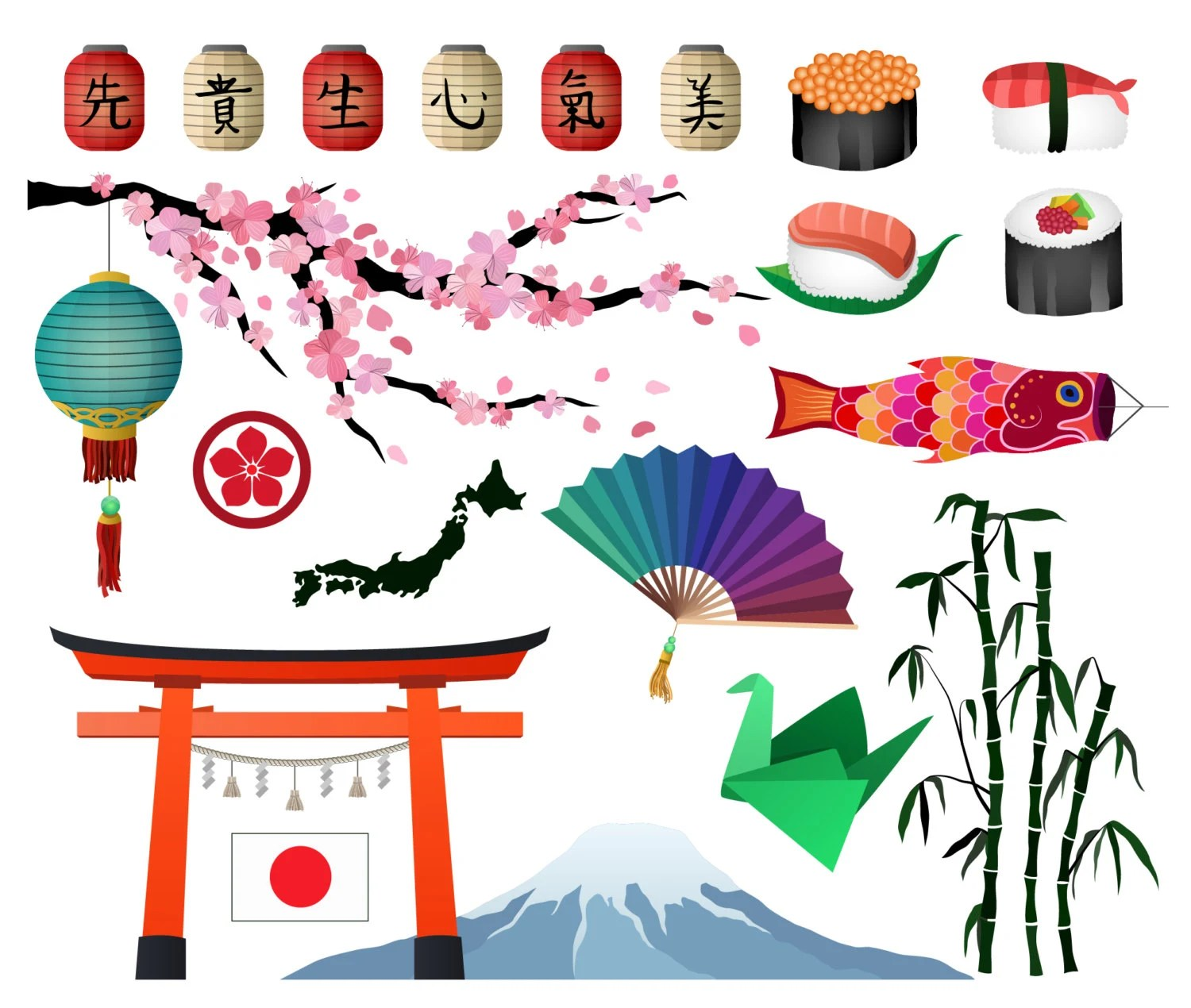Japanese Asian Clip Art Set Of 21 300 Dpi And