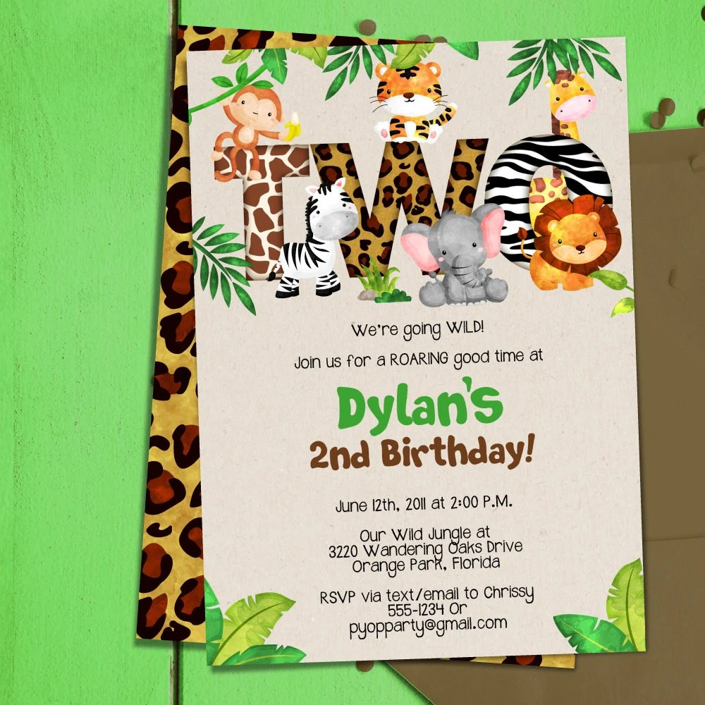 jungle 2nd birthday party invitation template jungle animals two safari second birthday invitation pdf template diy