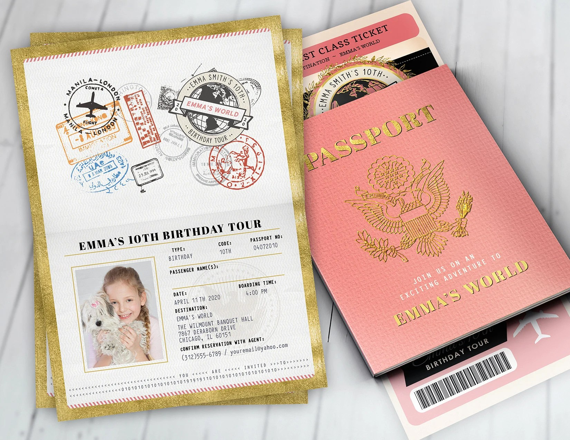 passport and ticket birthday invitation