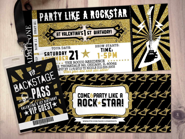 rock star concert ticket birthday party