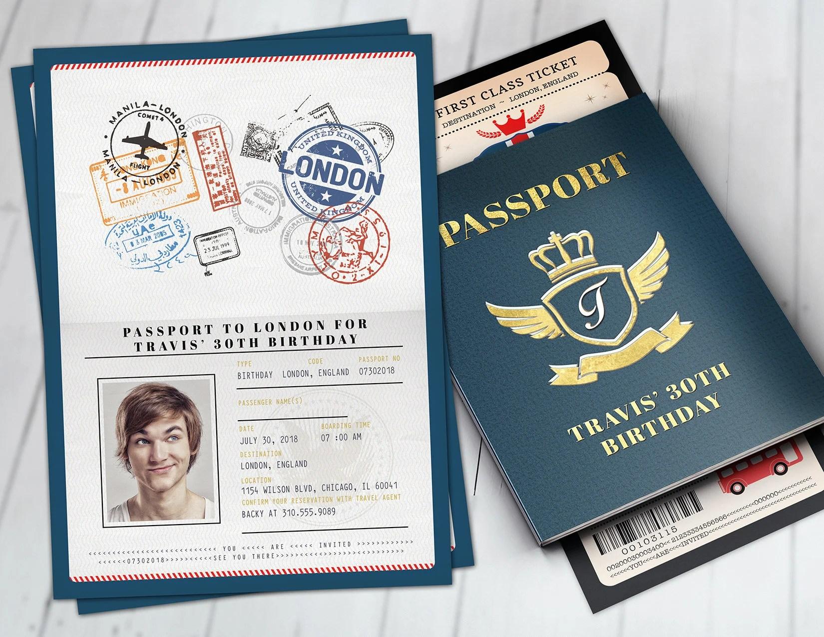 london passport and ticket birthday invitation travel birthday party invitation union jack england british digital files only