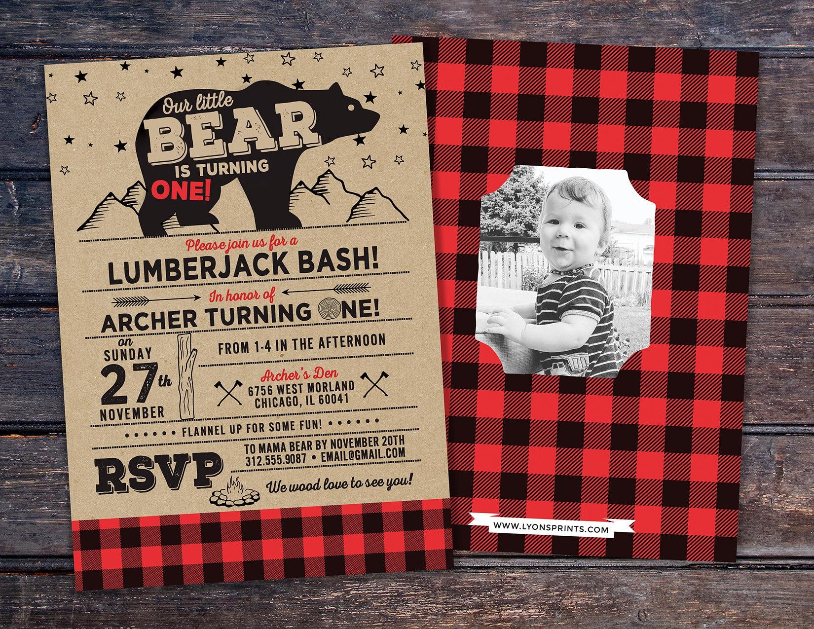 any age lumberjack birthday invitation