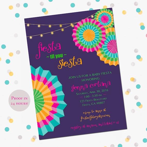 fiesta birthday shower invitation