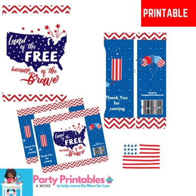 4th of July party favors, Custom Chip Bags, Patriotic Party Favors