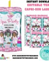 Girls Spa Party Printable Caprisun Labels Personalized Juice Etsy