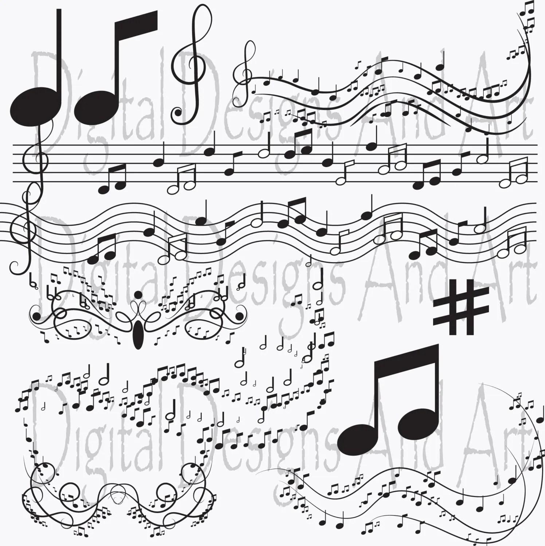 Music Clipart Notes Clip Art Digital Clipart Musical