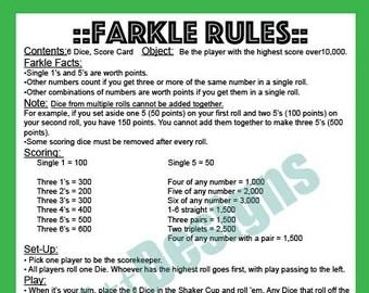 farkle dice game rules printable games world