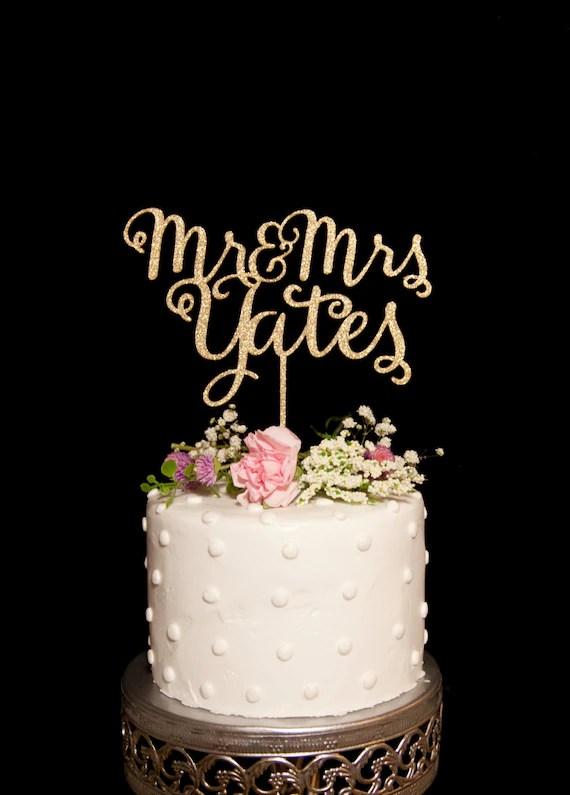 Custom Calligraphy Mr and Mrs Wedding Cake