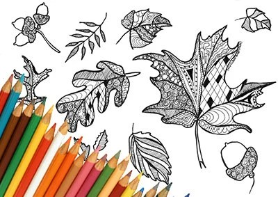 fall leaves coloring page # 76