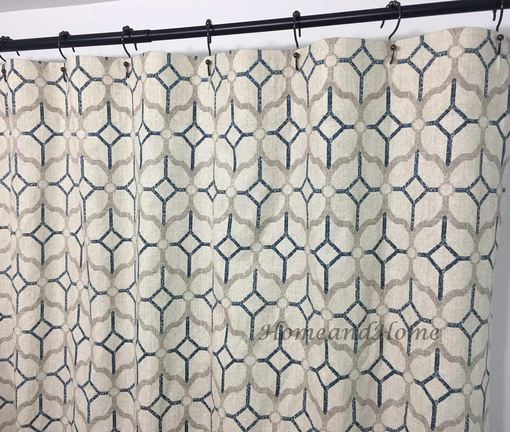 fabric shower curtain rockaway navy blue grey beige 72 x 84 108 long shower curtain extra wide shower curtain custom shower curtain