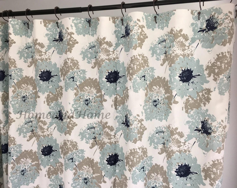 custom shower curtain spa blue taupe grey white long shower curtain extra wide shower curtain 72x 84 108 fabric shower curtain 54 x78