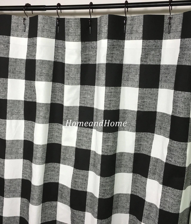 Custom Fabric Shower Curtain Buffalo Check Black White 54 W X 78 L 72 X 84 Long Shower Curtain 108 Extra Wide Shower Curtain