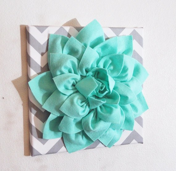 Large Mint Green Flower Wall Hanging Flower Wall Decor on Hanging Wall Sconces For Flowers id=41437