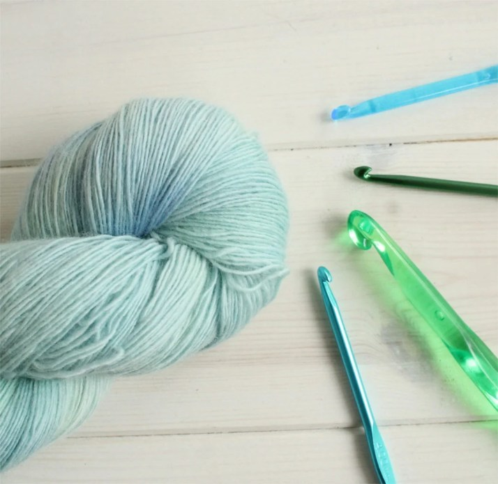 Hand painted yarn with a ...