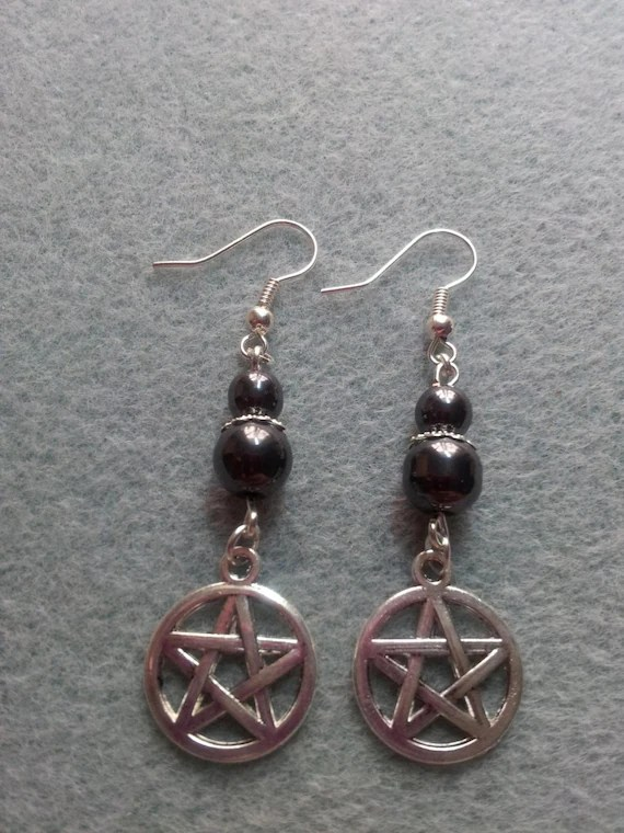 Hematite Pentagram Earrings