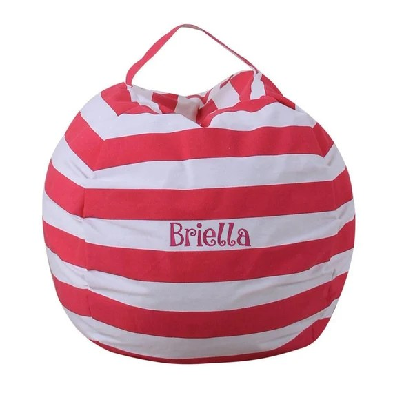 Striped Stuffed Animal Storage Bean Bag