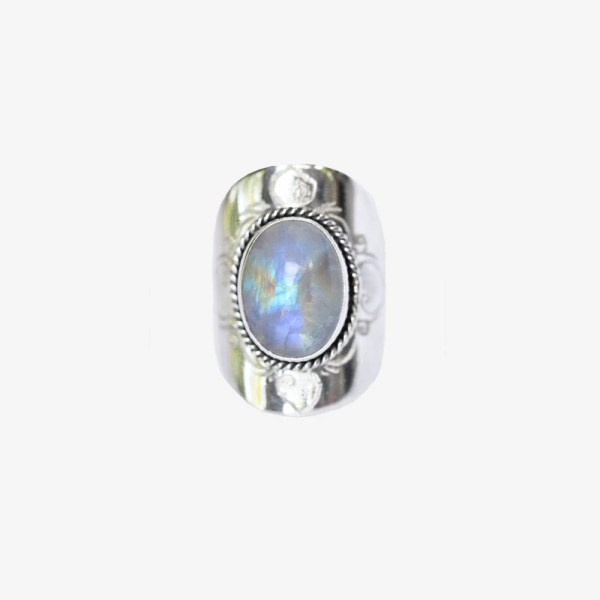 Large Moonstone Ring Statement Silver Moonstone Ring Solid