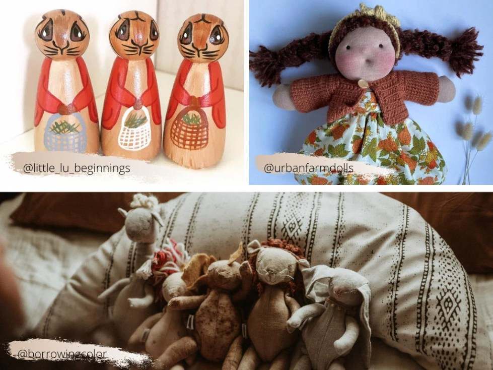 peg dolls, hand made doll, plush playthings