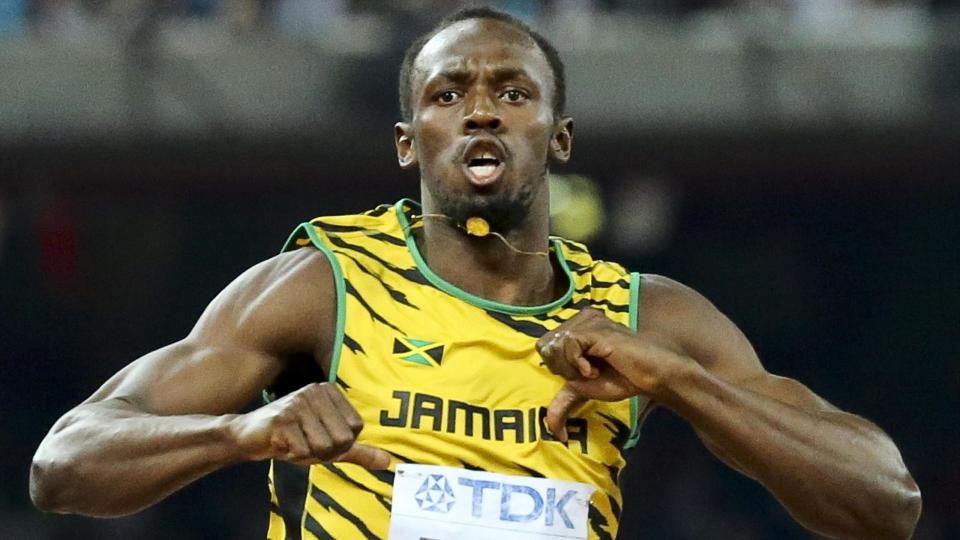Usain Bolt dancing and celebrating at the World Championships in Beijing