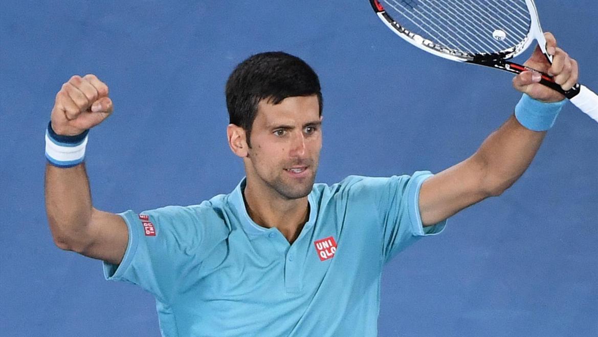 Novak Djokovic celebrates his win
