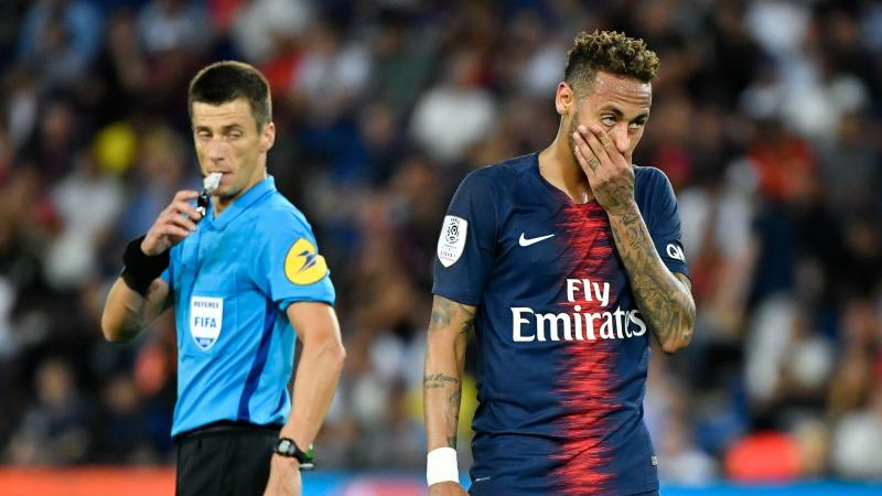 Neymar, lors de PSG - Caen en Ligue 1 dimanche soir.