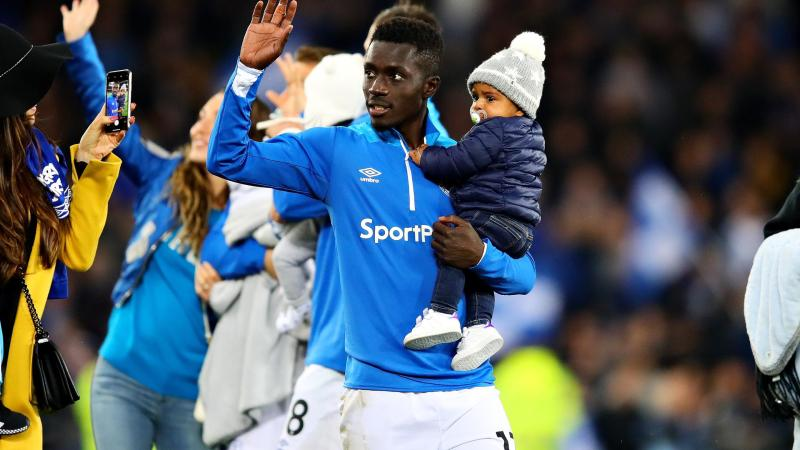 Idrissa Gueye of Everton applauds the crowd