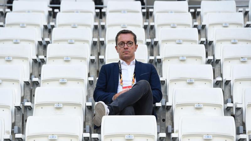 Jacques-Henri Eyraud dans une tribune vide du Vélodrome