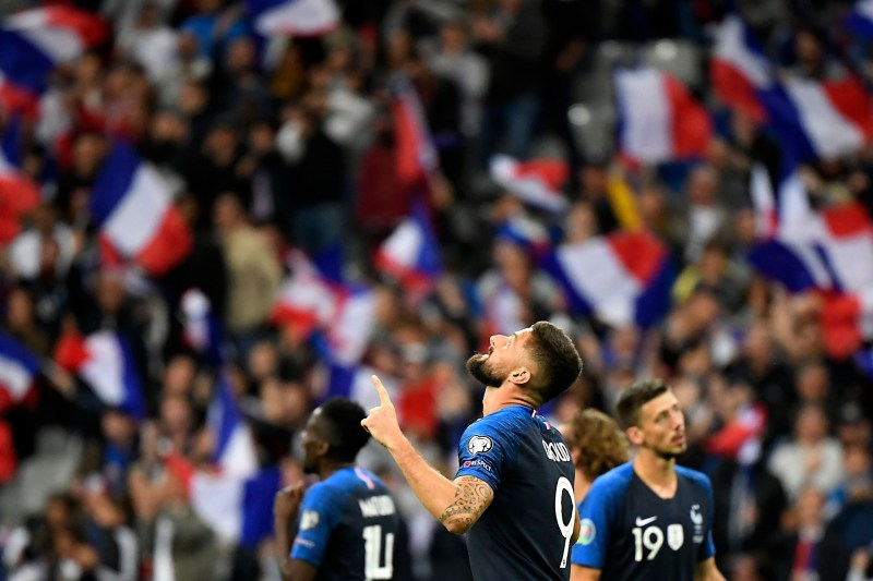 Olivier Giroud lors de France-Albanie / Qualifications Euro 2020