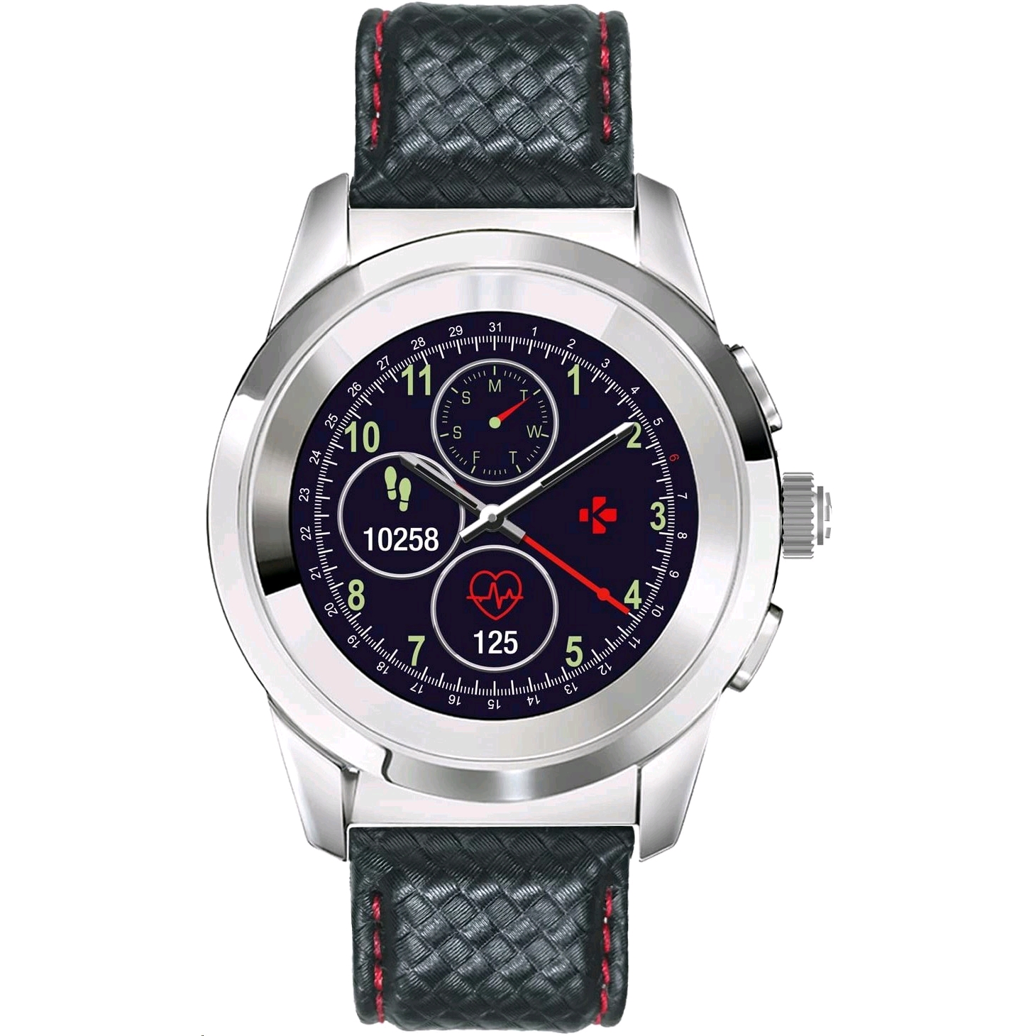 MyKronoz ZeTime Premium Regular Hybrid 機械指針型智慧手錶 (Polished Silver / Black Carbon Red Stitching) - EXPANSYS Taiwan