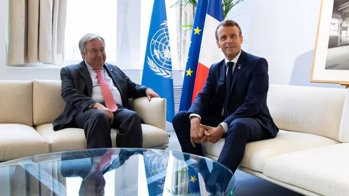 Antonio Guterres, le secrétaire général de l'ONU, et Emmanuel Macron pendant une rencontre bilatérale, à Biarritz le dimanche 25 août.