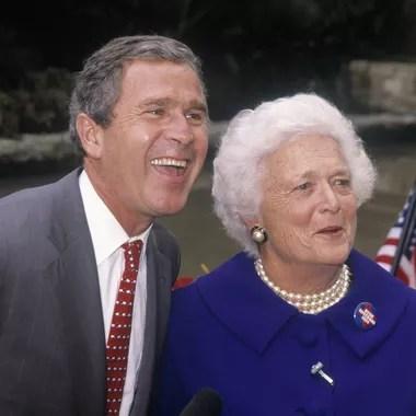 Barbara Bush et son fils, George W. Bush