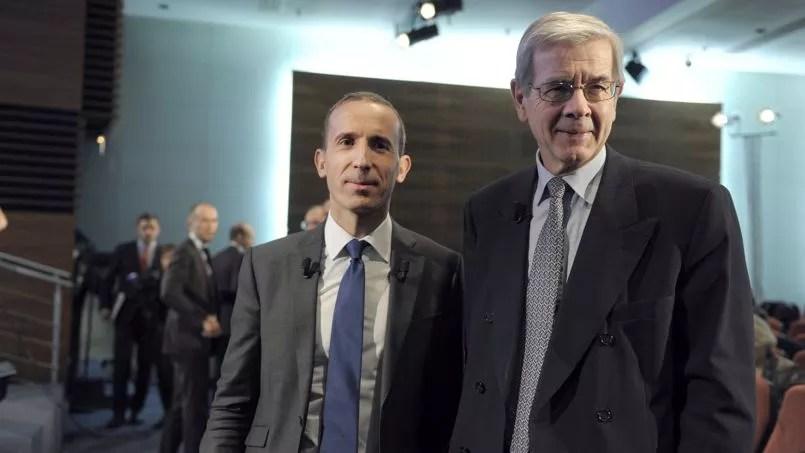 Le directeur général d'Areva, Philippe Knoche épaulé par Philippe Varin ce mercredi 4 mars.