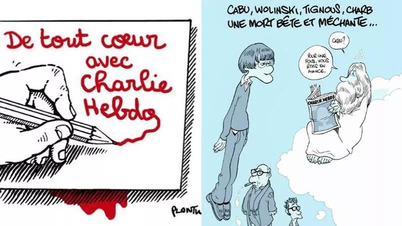 Plantu et Zep signent deux dessins en hommage à leurs confrères de <i>Charlie Hebdo</i>.
