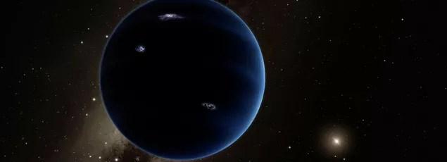 Vue d'artiste de la neuvième planète qui orbiterait à une très grande distance du Soleil.