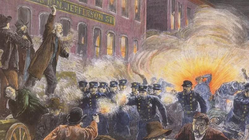 L'émeute de Haymarket Square à Chicago (attentat contre des policiers) le 4 mai 1886. Crédit Photo: Granger NYC/Rue des Archives