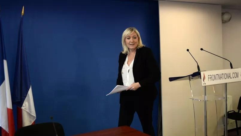 Marine Le Pen a convié, mercredi 3 juin 2015, au siège du Front national à Nanterre.